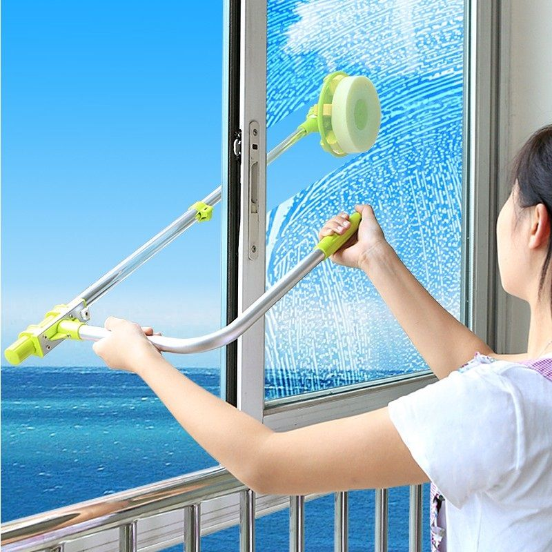 Telescopic High Rise Window Cleaning Glass Cleaner Brush For Washing