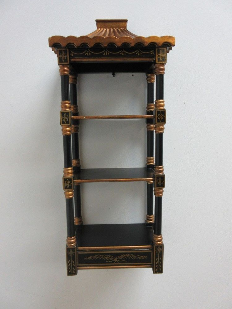 vinatge asian chinoiserie pagoda top wall shelf curio chinese rh pinterest com asian wall shelf