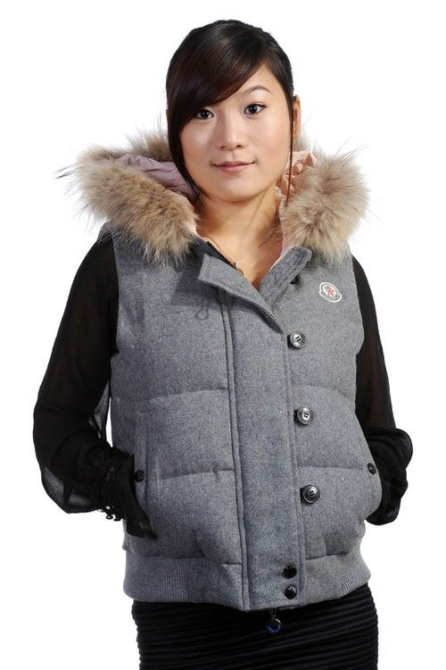 Moncler Tarn Quilted Gilet with Racoon Fur Trimmed Hood Grey  2900210  -  £139.69   026b2572e