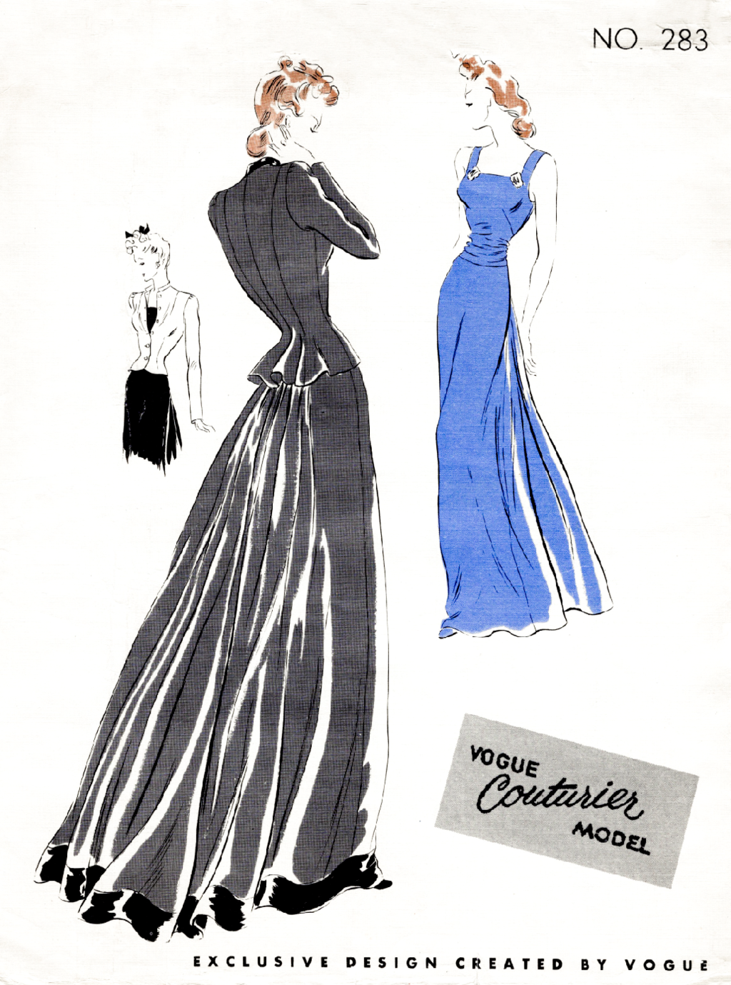 1930s evening dress gown and jacket Vogue Couturier 283 vintage ...