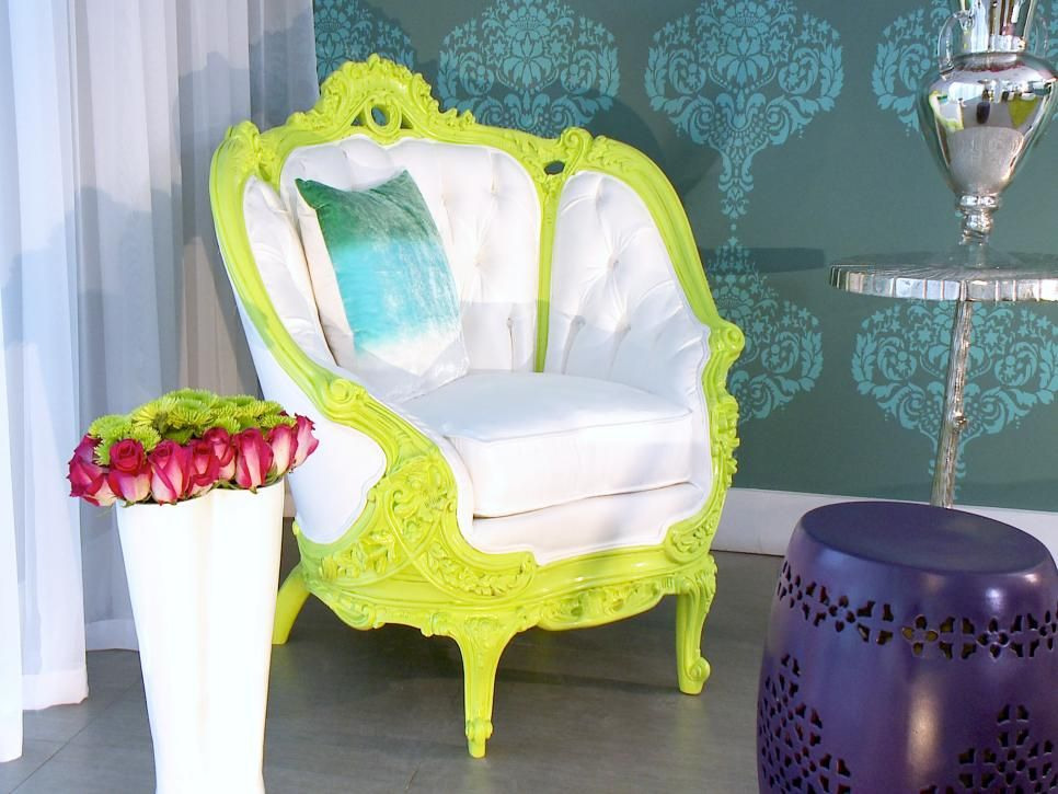 Eclectic Lime Green and White Armchair