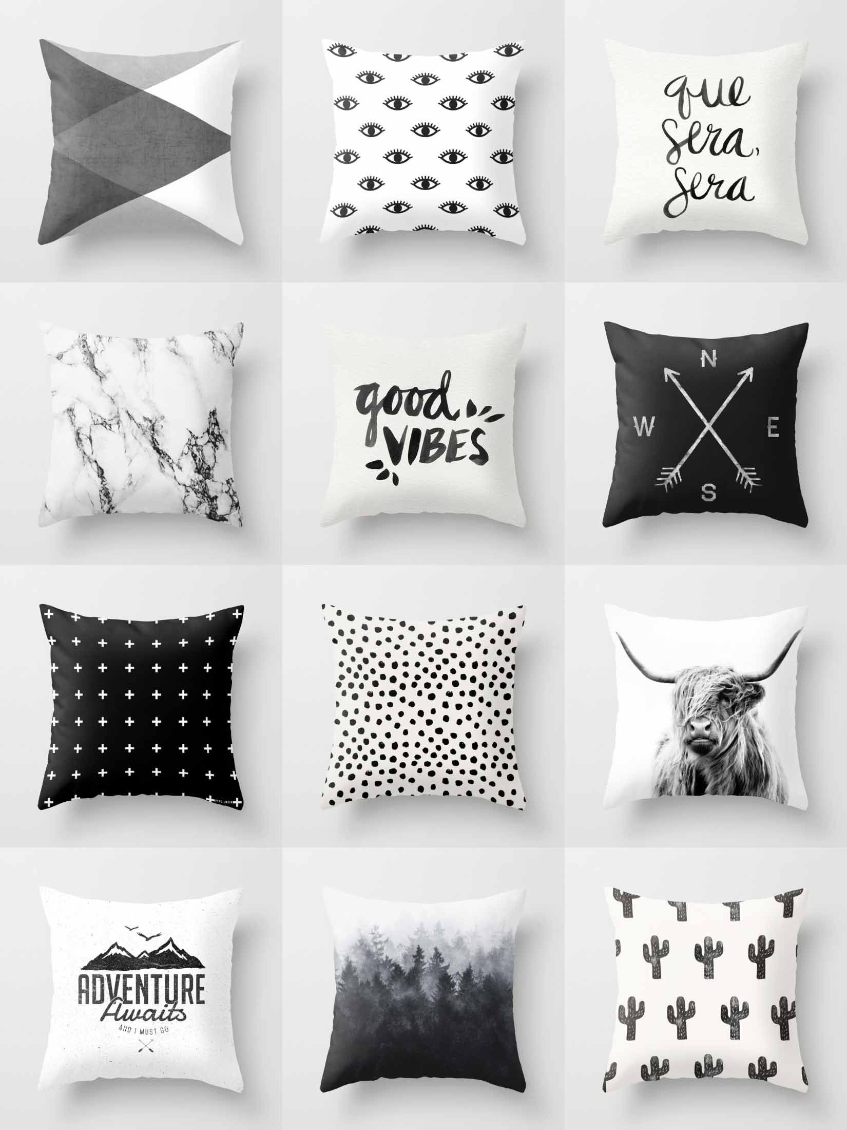 Society6 Black & White Throw Pillows   Society6 is home to