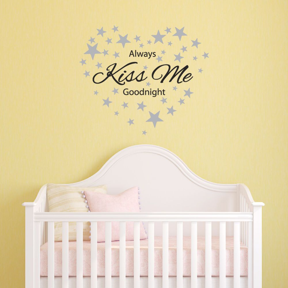 Always Kiss Me Goodnight Wall Sticker with 60 Silver Star Decals ...