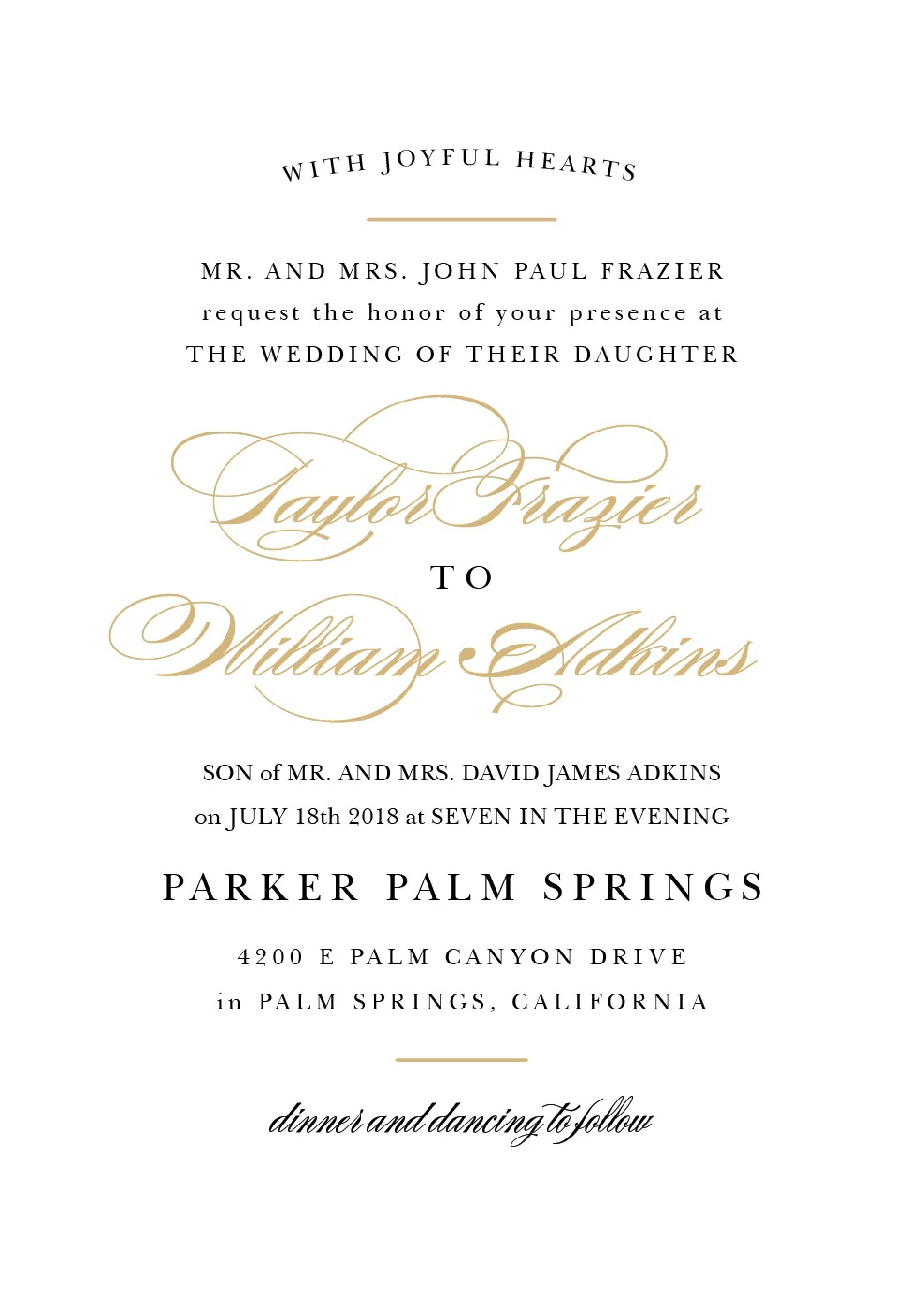 Wedding Invitation Wording Samples Regarding Sample Wedding In 2020 Sample Wedding Invitation Wording Wedding Invitation Wording Templates Wedding Invitations Examples
