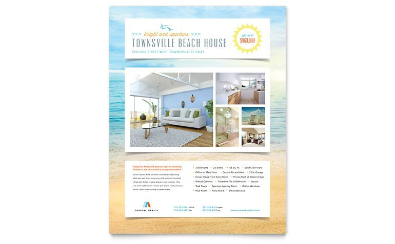 Beach House Flyer - Word Template \ Publisher Template Design - flyer format word