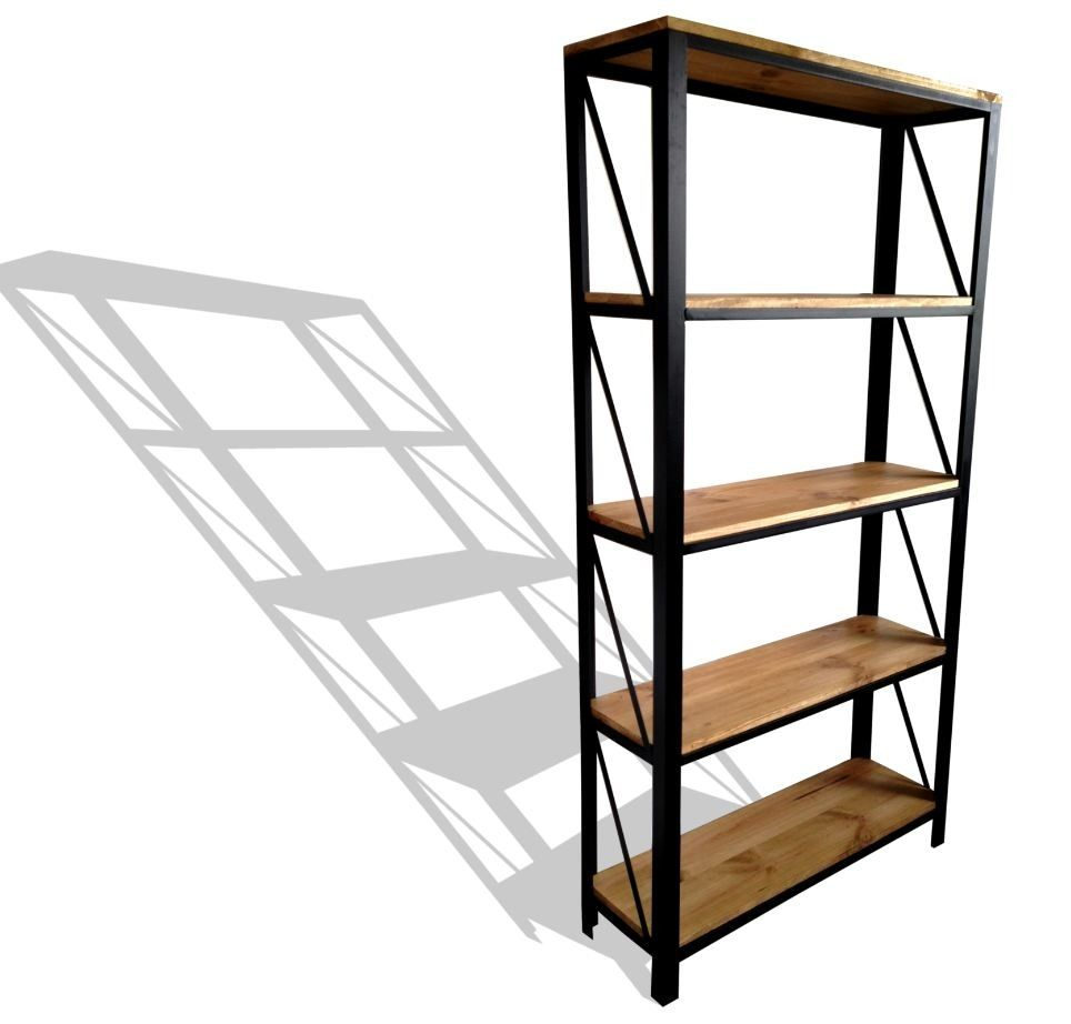 etag re acier et bois style industriel etagere acier acier et industriel. Black Bedroom Furniture Sets. Home Design Ideas