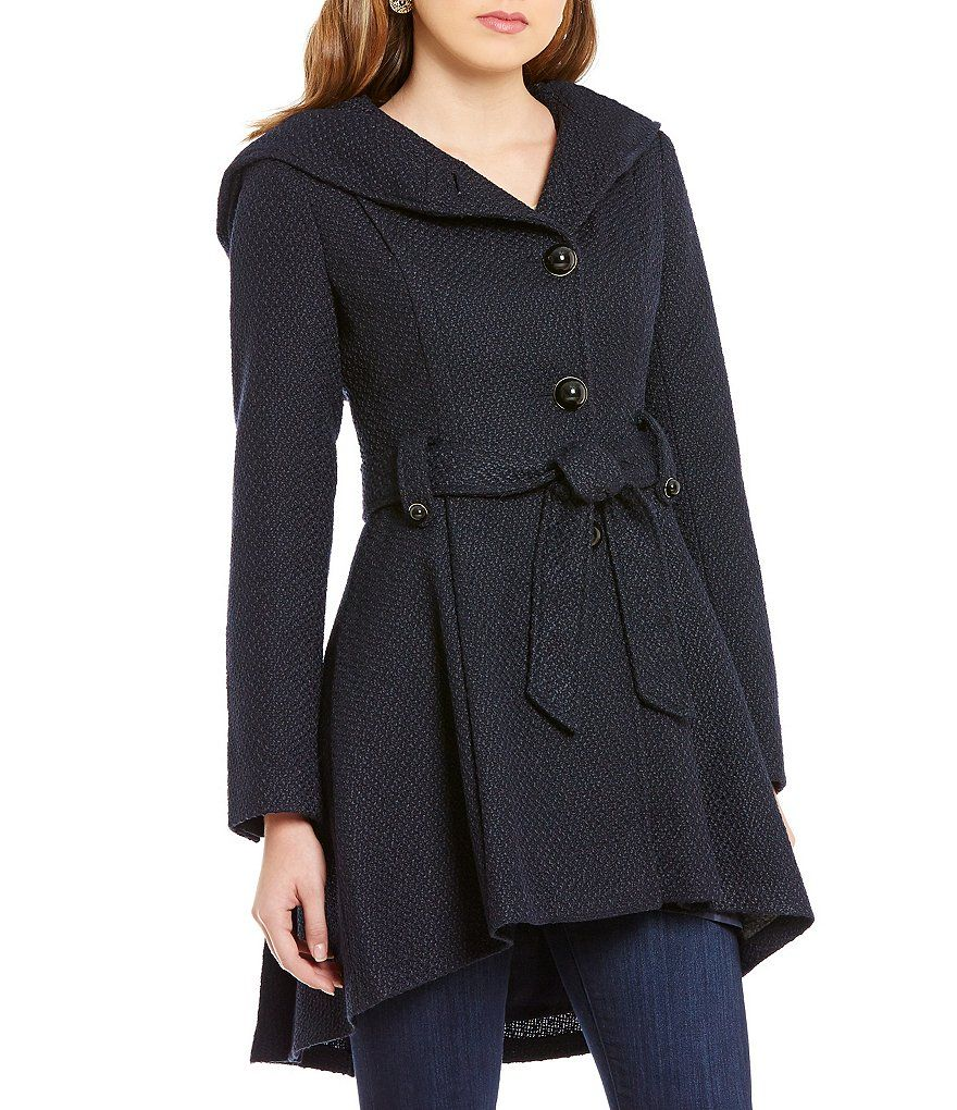 514a580a29f Navy:Steve Madden Single Breasted Fit-and-Flare Wool Hooded Drama ...