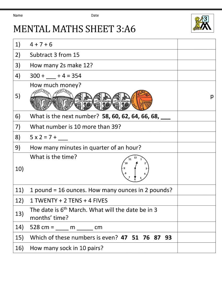 Year 3 Maths Worksheets   K5 Worksheets   Mental maths worksheets [ 1200 x 927 Pixel ]