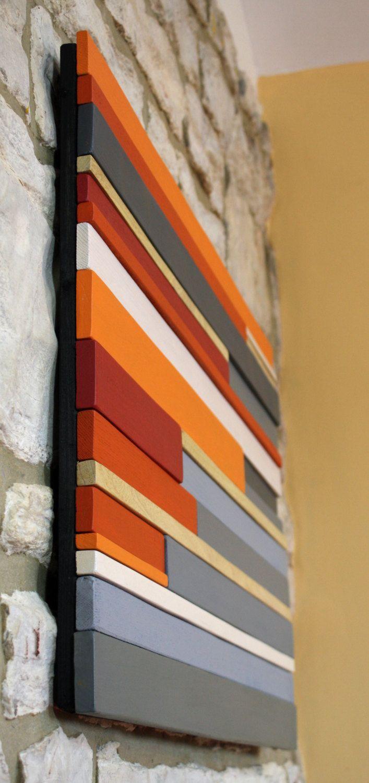 Large wall art wood sculpture wood wall art orange red mzinyi