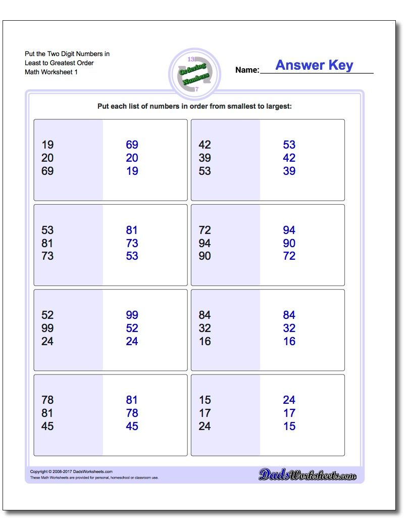 Ordering Numbers https://www.dadsworksheets.com/worksheets/ordering-numbers.html?utm_content\u003dbuffer…    1st grade math [ 1025 x 810 Pixel ]