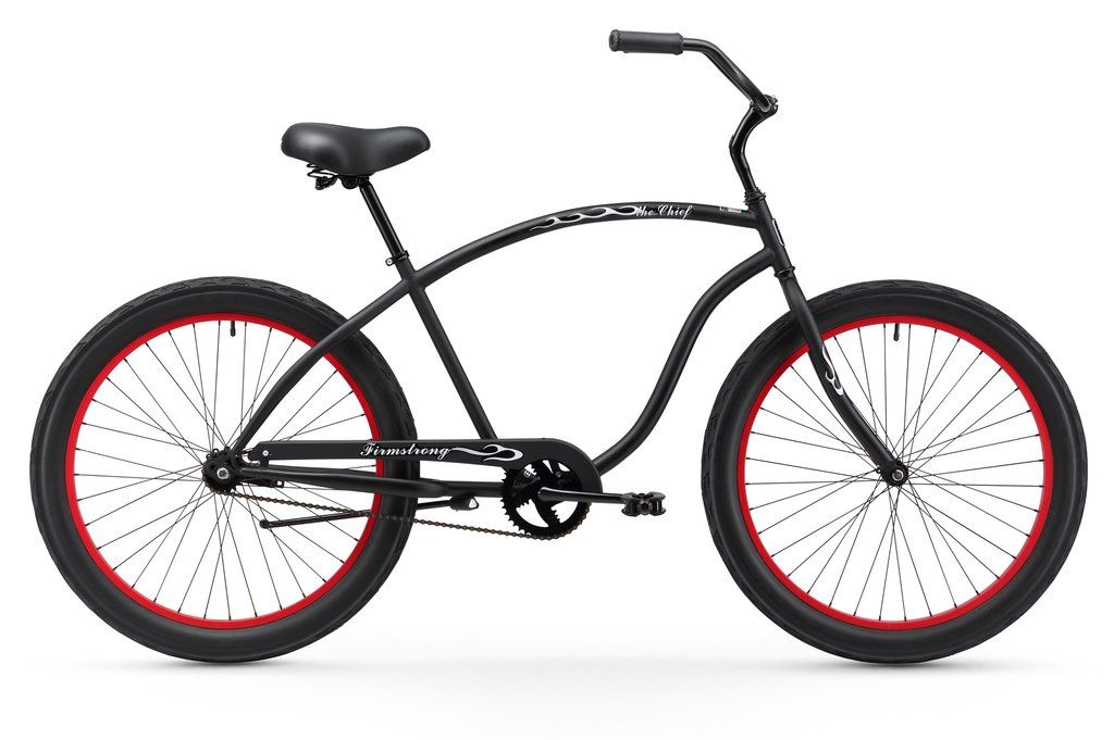 Firmstrong Chief 3 0 Single Single Speed Matte Black With Red Rims Men S 26 Beach Cruiser Bike Bicicletas Vintage Bicicletas