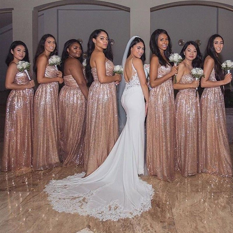 Wedding Entourage Gowns: A-Line Sweetheart Rose Gold Long Sequin Bridesmaid Dress