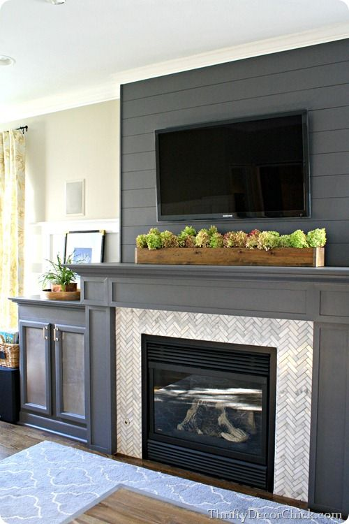 A Gorgeous Gray Gas Fireplace Complete With Diy Built