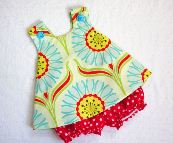 Pinafore and Bloomers Set for baby or toddler - Pop Daisy Red - Pop Garden Collection. $28.00, via Etsy.