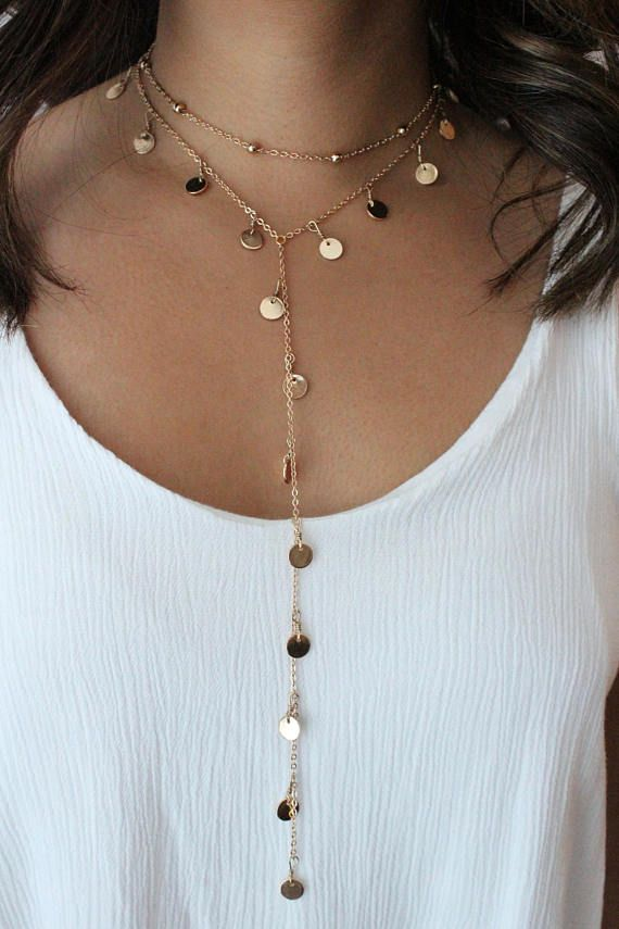 PEGAH || Dangly Coin Chain Lariat Layering Necklace- Silver or Gold Plated Jewelry- Long Necklace- Y Necklace- Elegant Chain #jewelry