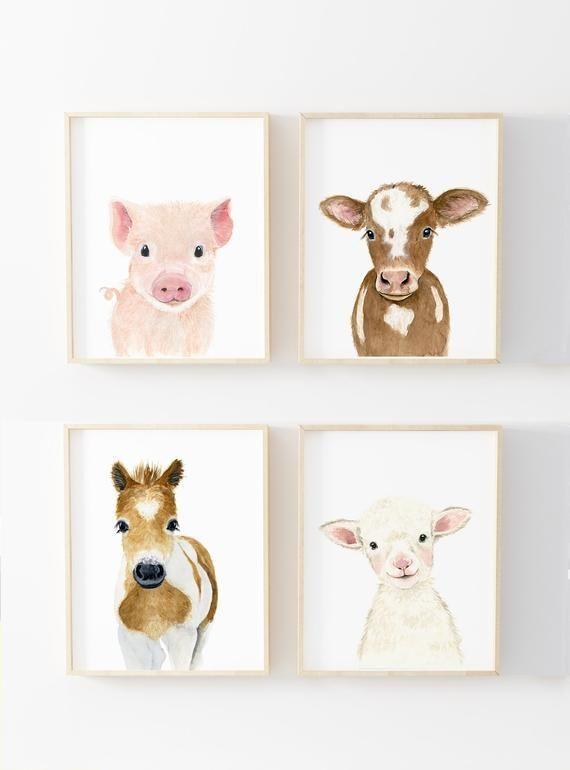 Farm Nursery Gender Neutral Set of 4 Prints Farm Animals Prints Calf Piglets Foal Lamb Baby Shower Gift Nursery Girl Nursery Prints  Kinderzimmer Ideen
