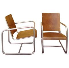 1930s Rationalist Italian Armchairs Attributes to Columbus
