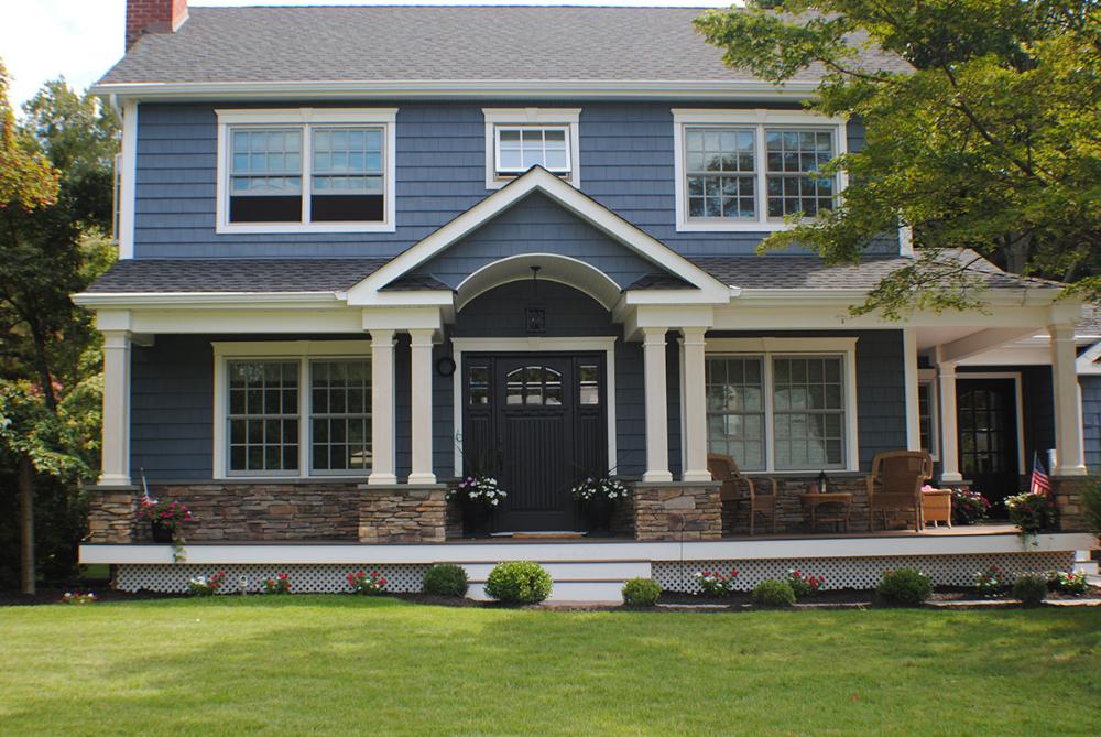 Nassau County Long Island Exterior Siding Certainteed Pacific Blue Cedar Impression Vinyl Shake Siding Resident House Siding Blue Siding House Exterior