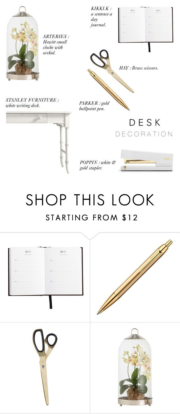 """""""Desk Decoration '16"""" by rachaelselina ❤ liked on Polyvore featuring interior, interiors, interior design, home, home decor, interior decorating, HAY, Arteriors, Stanley Furniture and onmydesk"""