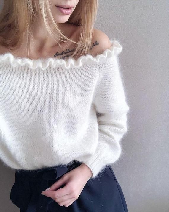 Open shoulders White mohair sweater knit sweater from kid mohair yarn Hand knit mohair sweater mohair sweater with frill – вязание
