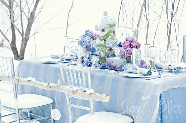 Ice Blue Silver Winter Wedding Centerpieces Inspiration 2017
