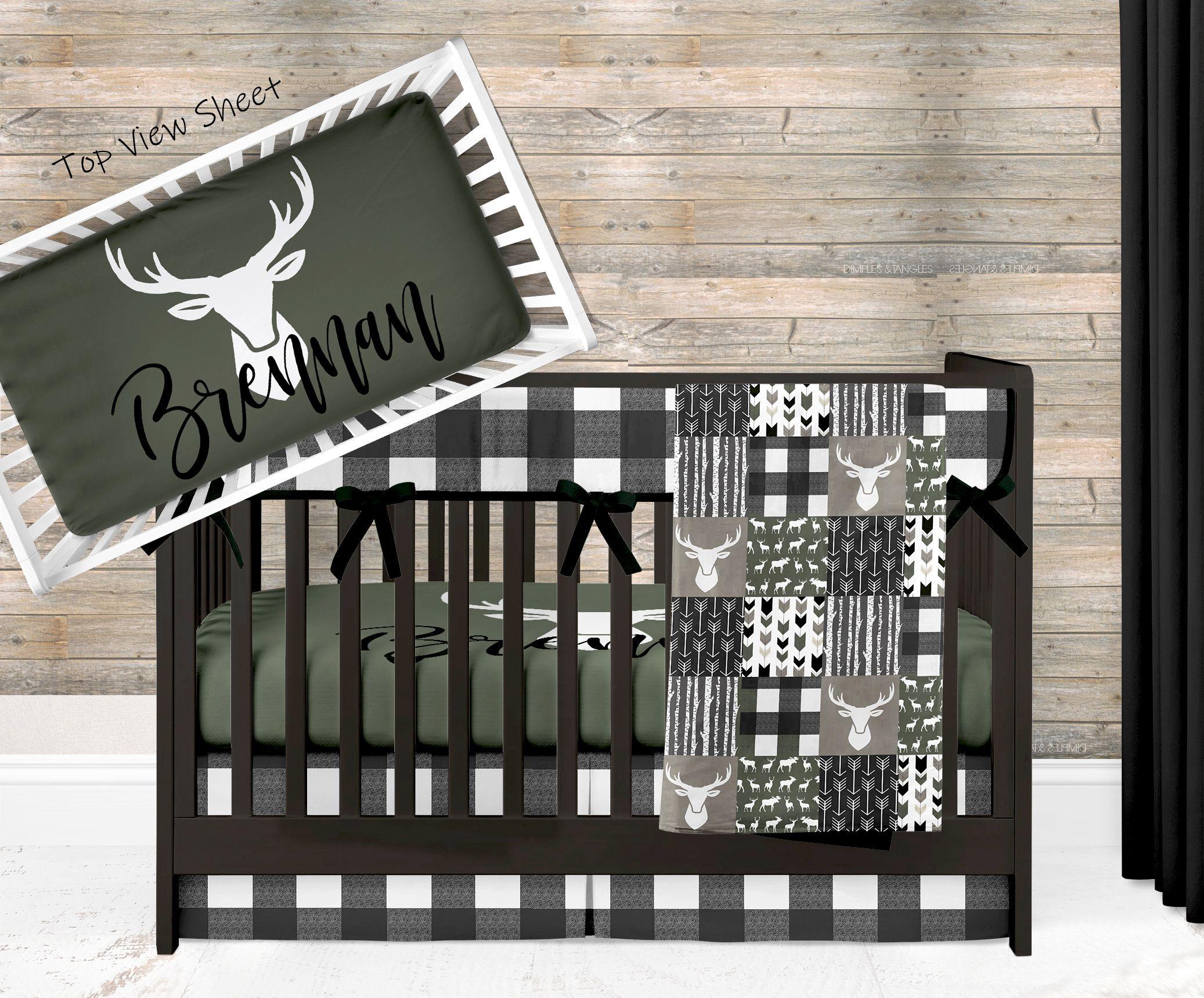 Woodland Nursery Bedding Set Deer Crib Bedding Black And Etsy In 2021 Baby Boy Crib Bedding Crib Bedding Boy Deer Crib Bedding