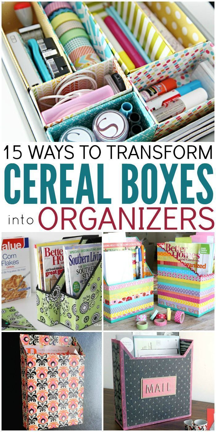 15 Ways to Make Cereal Box Organizers Desk organization
