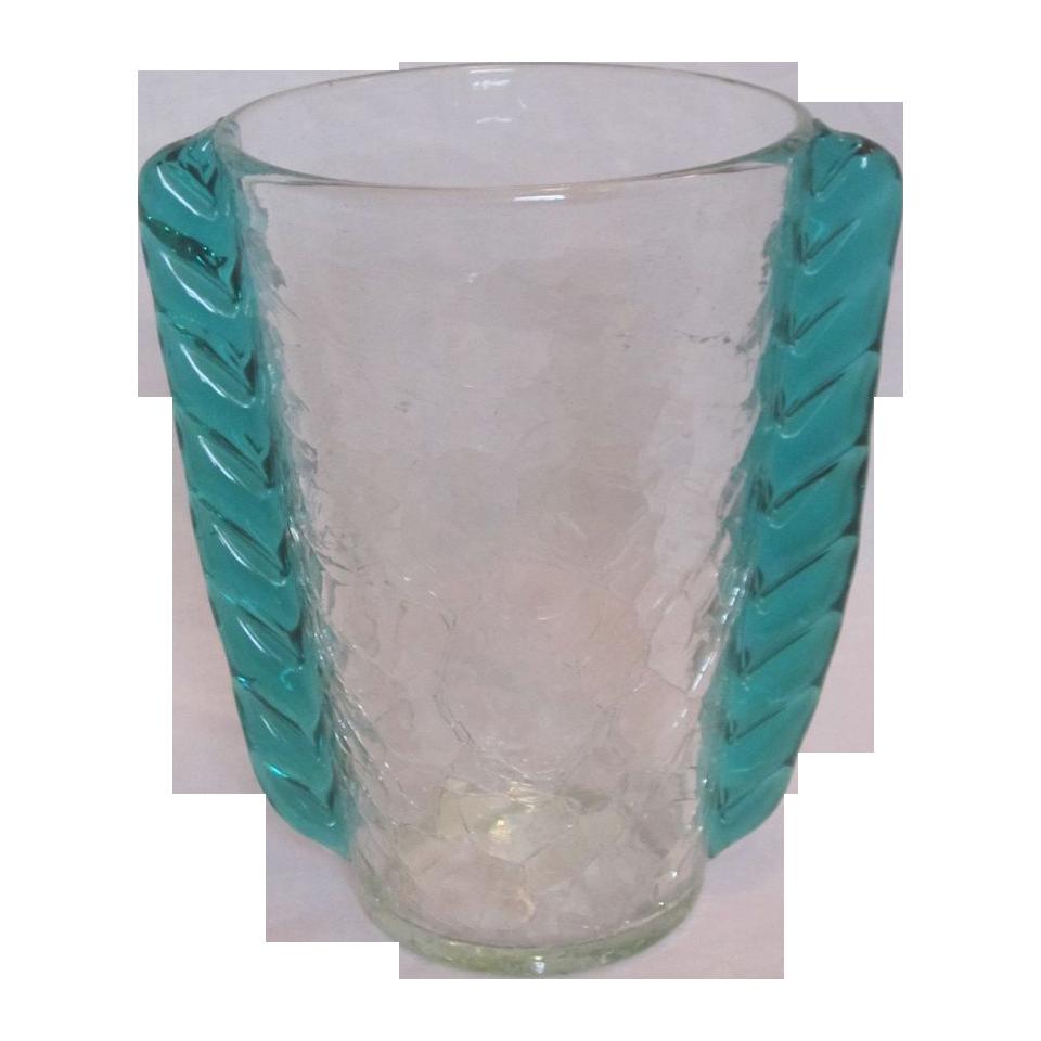 Vintage blenko glass vase wing crackle crystal green wings glass vintage blenko glass vase wing crackle reviewsmspy