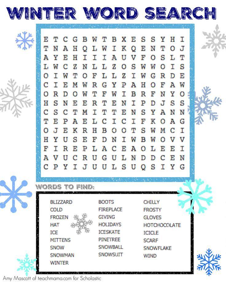 Winter Word Search Winter Pinterest Winter Word Search Winter