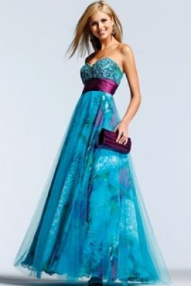 Strapless Beaded Print Chiffon Ball Gown with Tulle Overlay