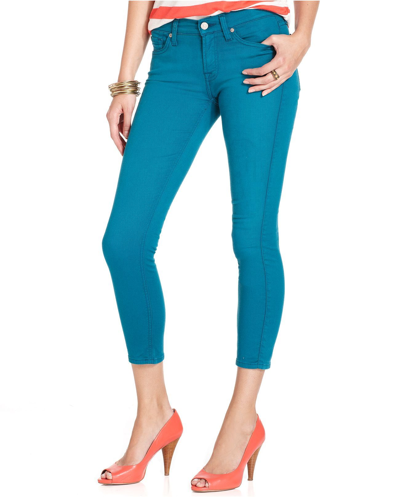7 For All Mankind Jeans Cropped Skinny Teal Wash Colored Denim