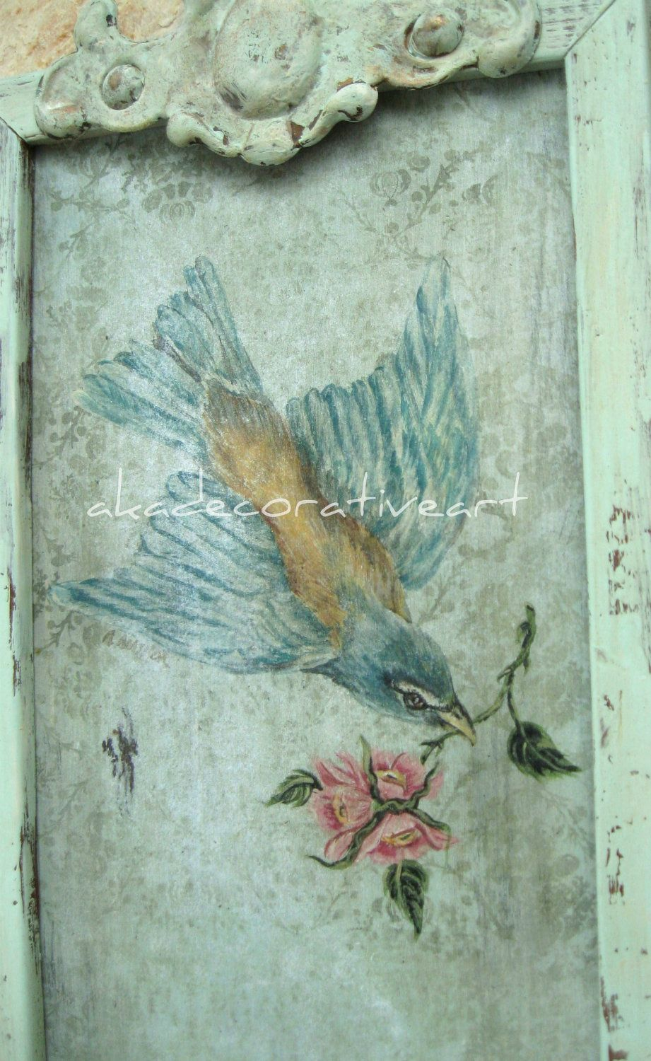 Bird vintage bird painting cottage style aqua framed fresco bird