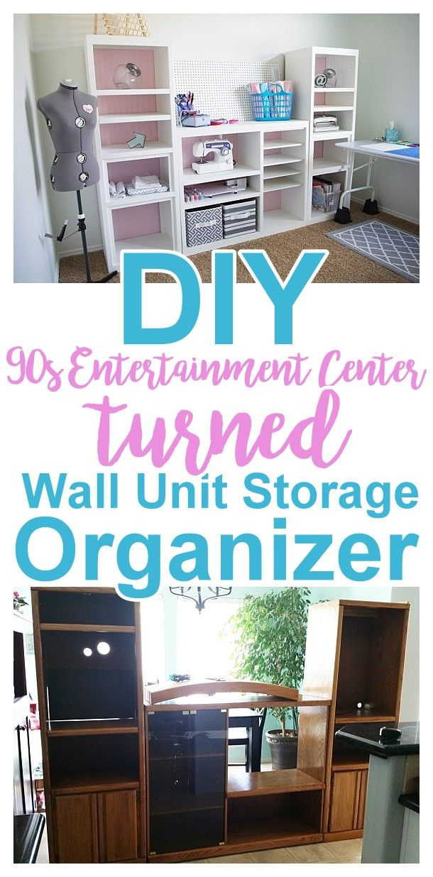 Diy craft room wall storage organizer unit furniture makeover diy 90s ugly oak entertainment center turned pretty craft storage organizer solutioingenieria Gallery