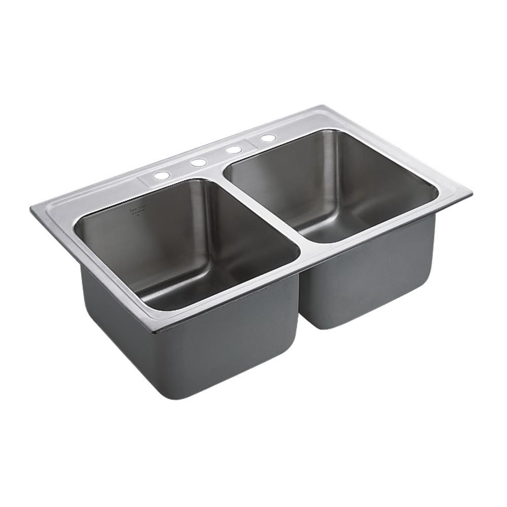 M-Dura Commercial Drop-In Stainless Steel (Silver) 33 in. 4-Hole ...