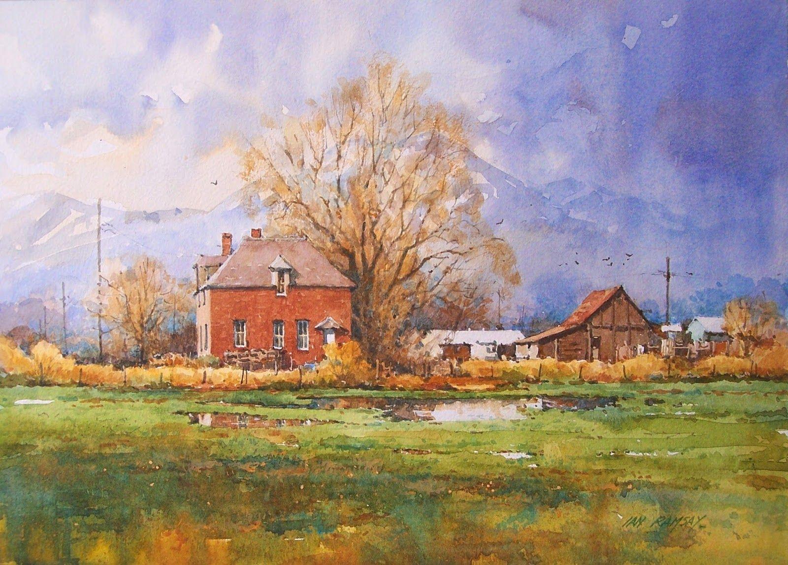 Ian Ramsay Watercolor 10 x 14 Farm, Spanish Fork, Utah