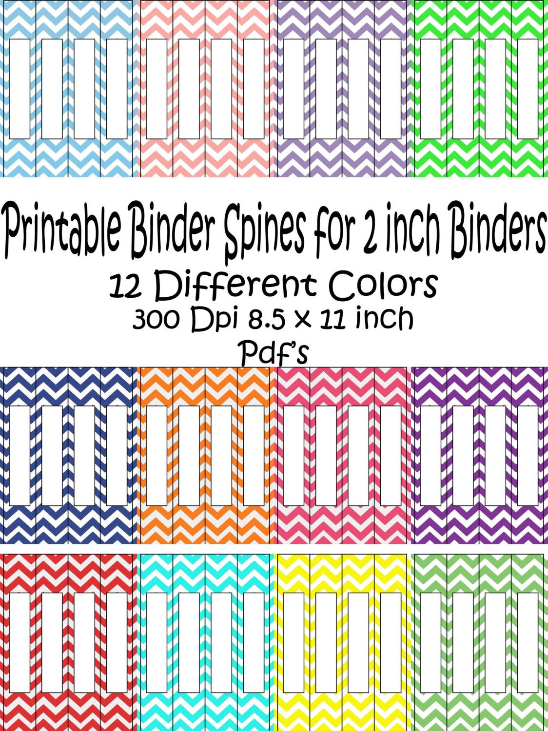 printable binder spine pack size 2 inch 12 different colors in