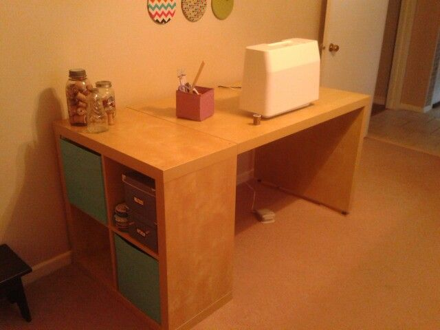 Ikea hack Expedit 2x2 and expedit desk birch finish attached with brackets from hardware store.