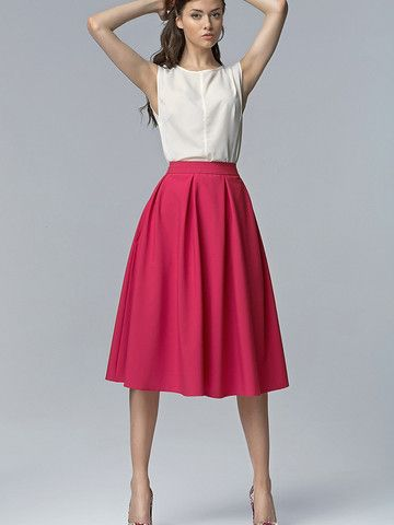 325d72c561 NIFE Fuchsia Skirt | My Style in 2019 | Midi skirt outfit, Pink ...