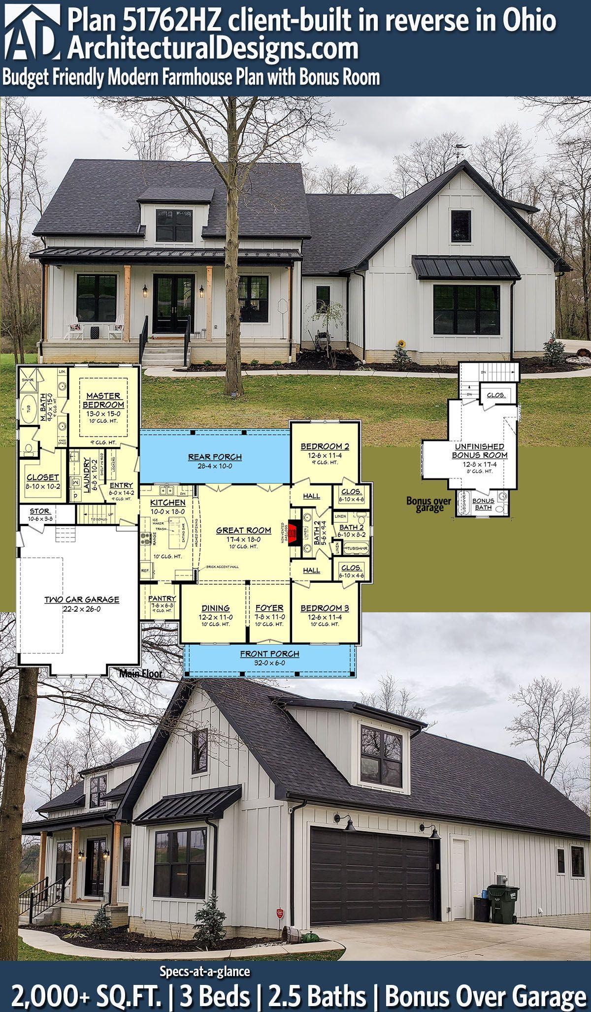 Plan 51762hz Budget Friendly Modern Farmhouse Plan With Bonus Room In 2020 Modern Farmhouse Plans Architectural Design House Plans House Plans Farmhouse