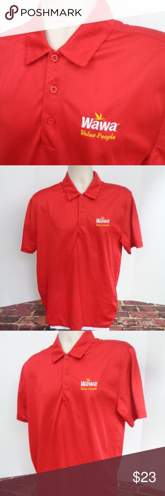 Wawa Red Polo Shirt Uniform Employee Mens L Red Polo Shirt Shirts Polo Shirt