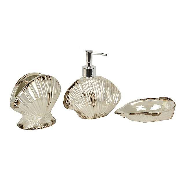 Pearl Shell 3 Piece Bath Accessory Set Bath Accessories Set Seashell Bathroom Accessories Room Accessories