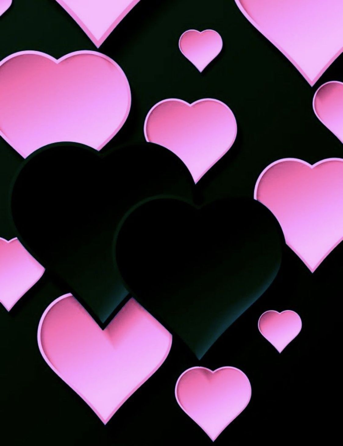 Pink Black Hearts Heart Wallpaper Iphone Wallpaper Pink