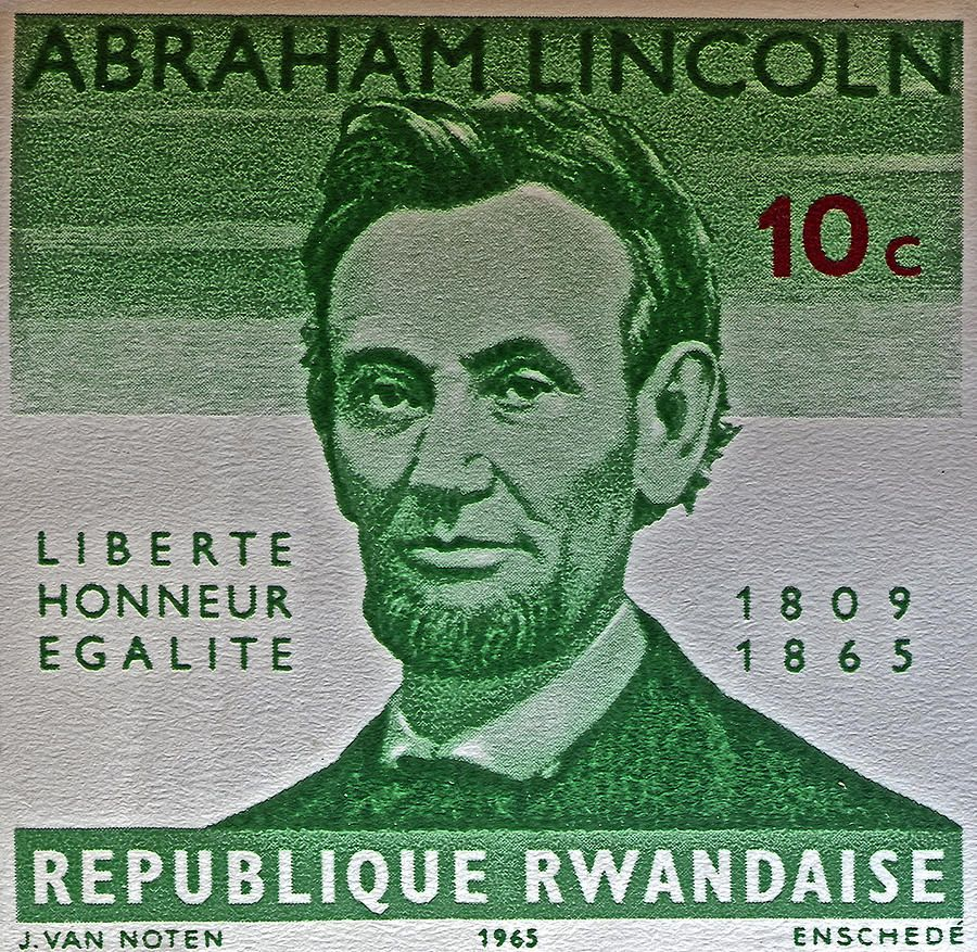 1965 Rwanda Abraham Lincoln Stamp Photograph  - #abelincoln #potus #lincoln #cards #stamps #macro #photography :)