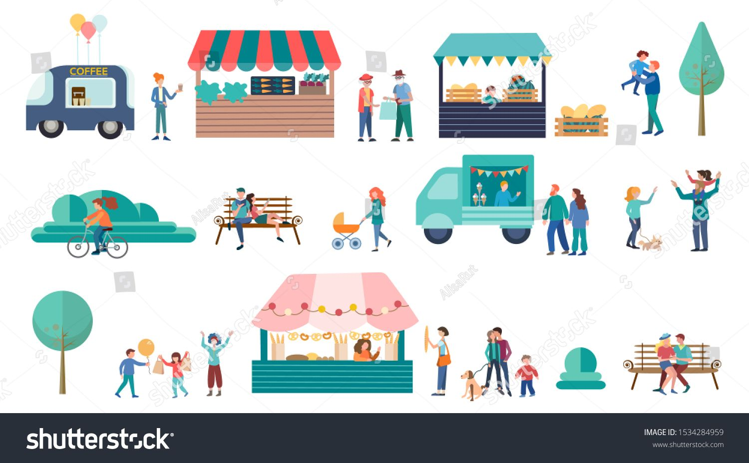 Food Street Fair concept vector illustration Family Festival Poster and banner Bakery Vegetable Stand Drinks Kiosks Offer Different Meals Family Spare Time Weekend
