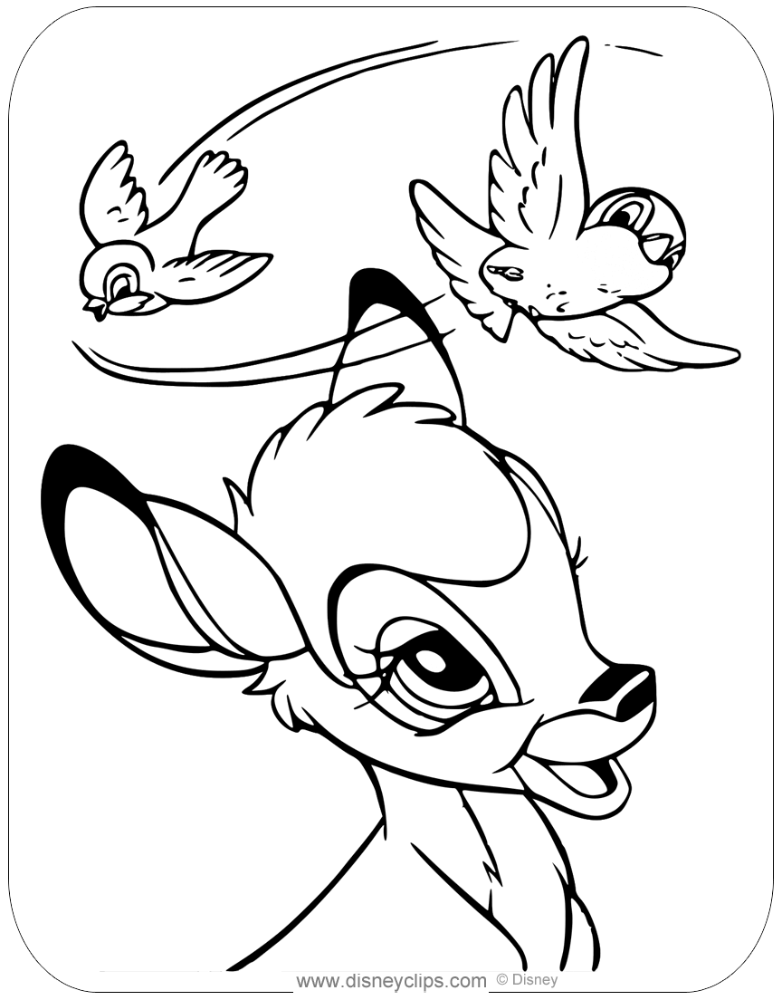 Coloring page of Bambi admiring a pair of birds flying overhead