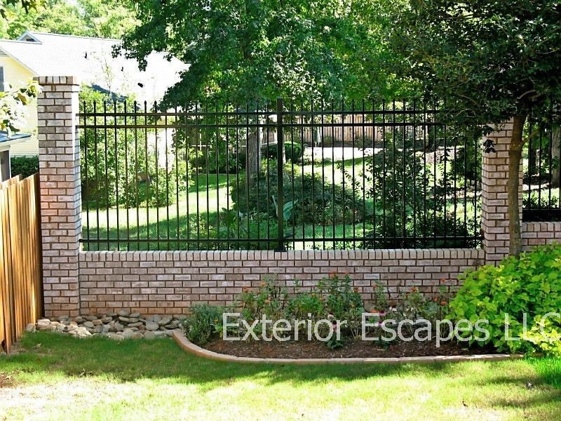 wrought iron fence brick. Exterior Escapes LLC Provides Residential And Commercial Fencing In Greenville, SC Surrounding Cities. Wrought Iron Fence Brick
