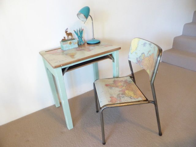 World map vintage primary school desk and chair set before and world map vintage primary school desk and chair set before and after photos and diy gumiabroncs Image collections