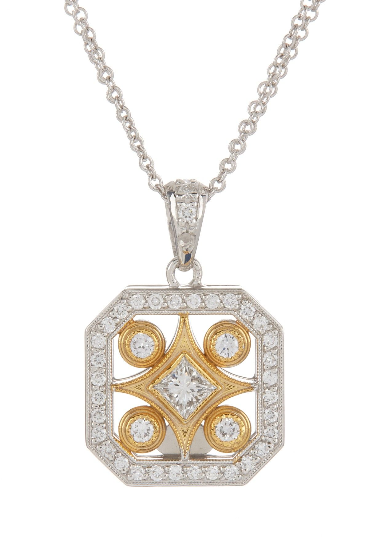 and rose product tw unlimited benefits white square charity pendant diamond gold ct