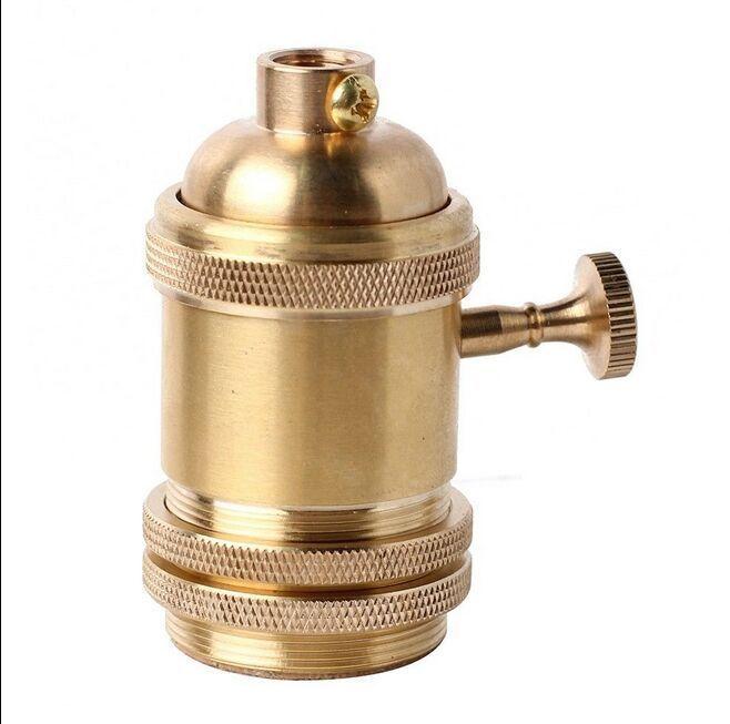 1PC Golden Brass Socket Copper Lamp Holder Knob For Edison Light Bulbs NEW  #UnbrandedGeneric