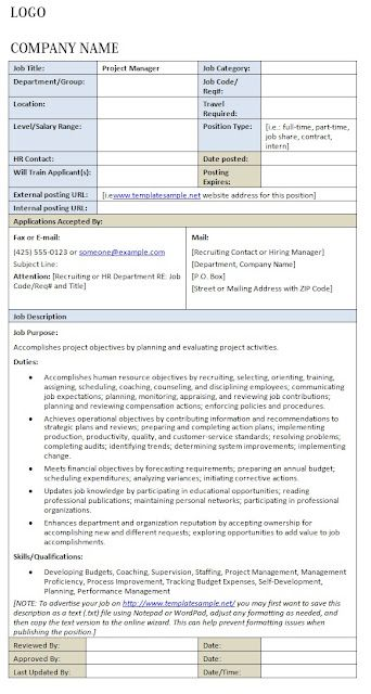 Job Description Project Manager  Template Sample  My Work